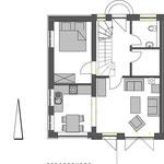 Strandhaus-Fehmarn I, Backbord, Grundriss vom EG