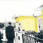 Vorstadt | 30 x 30 cm | Farbstift und Gouache auf Papier | 2014
