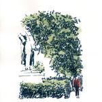 Denkmal | 24 x 18 cm | Farbstift und Schelllacktusche auf Papier | 2018