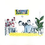 Martha und Klaus | 18 x 24 cm | Farbstift und Schelllacktusche auf Papier | 2018