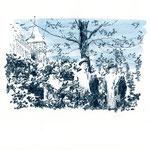 Gruppenbild im Park | 18 x 24 cm | Farbstift und Schelllacktusche auf Papier | 2018