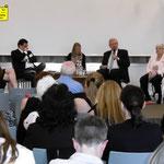 Podiumsdiskussion, diskutierten Staatssekretär Dr. Ralf Kleindiek (BMFSFJ und die Abgeordneten des Bundestags Marcus Weinberg (CDU) und Lisa Paus (Bündnis 90/Die Grünen), Erika Biehn