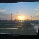 Sonnenaufgang aus der Wohnkabine