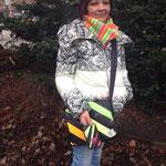 Andrea unterwegs in Hamburg mit ihrem Ladybag und passendem Iphone sleeve !