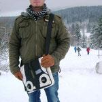 Philip im Harz mit seinem Messengerbag .