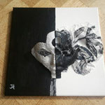 Black and White, 30x30cm, acryl/gips/materie