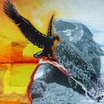 Fly like an Eagle - 30x30cm - Acryl/collage/vilt - in opdracht, ntk
