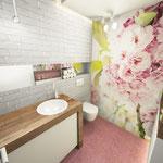 Bad Gäste-WC Grundriß 3D Perspektive feminin Badplanung Wellnessbad Innenarchitektur