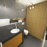 Bad Gäste-WC Grundriß 3D Perspektive maskulin Badplanung Wellnessbad Innenarchitektur