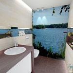 Bad Gäste-WC Grundriß 3D Perspektive maritim Badplanung Wellnessbad Innenarchitektur
