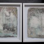 """""""alles hat 2 Seiten""""  Sumpfkalk auf Papier im Objektrahmen 30x30,  Okt 2015   (verkauft)"""