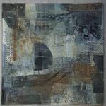 Papiercollage, Tusche und Wachs in Grau und Gold auf Malkarton,  30x30  März 2018