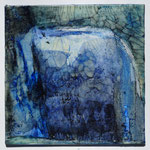 """blaue Serie""  Pigmente in Öl auf Wachs, Malkarton 15x15,  April  2018"
