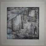 """verfallene Hütte"" , Serie Ölfarbe+Pastellstifte 2, Juni 2015  40x40 m.P.   (verkauft)"