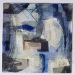 Papiercollage, Wachs, Tusche und Pigmente in Öl auf Malkarton  20x20,  April 2018