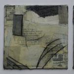 Papiercollage mit Tusche und Wachs auf Malkarton, 3x 10x10    März 2018    (Privatsammlung)