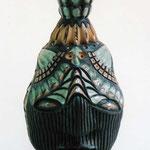 縦縞面黒マット香炉 2005年