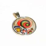 Anhänger Cabochon, Florentiner Papier kleine  Ornamente bunt gold 1