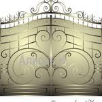 """Эскиз кованых ворот в стиле """"модерн"""".Дизайн Алисова И."""