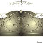 """Эскиз глухих кованых ворот в стиле """"модерн"""".Дизайн Алисова И."""