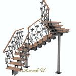 Эскиз лестницы с перилами 2 .Вид 1.Дизайн Алисова И.