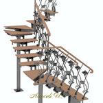 Эскиз лестницы с перилами  2.Вид 2.Дизайн Алисова И.