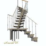 Мансардная лестница. Вид  2.Дизайн Алисова И.