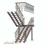 Эскиз лестницы с перилами .Вид 2.Дизайн Алисова И.