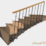 Лестничное ограждение из наборных балясин.Дизайн Алисова И.