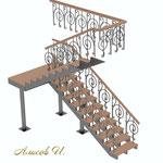 Эскиз лестницы с перилами .Вид 1.Дизайн Алисова И.