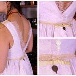 Robe de mariée : dentelle de calais, traine escamotable