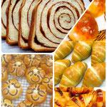 左上「No1 人気商品 シナモン(食パン)」 ゴロゴロぶどう 苦くないよもぎロール クロワッサン キャラクター