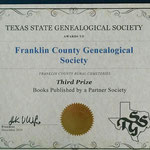 Third Place Partner Society Book Award, from Texas State Genealogical Society, 2014