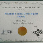 Third Place Partner Society Website Award, from Texas State Genealogical Society, 2014