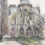 水彩画 ノートルダム寺院