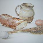 水彩画 パンと麦のある静物