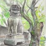 水彩画 久留米水天宮の狛犬