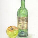 水彩画 ワインのびんとりんご