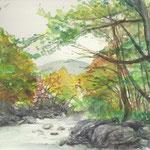 水彩画 紅葉と川