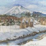 水彩画 富士山