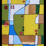 GRANDE MAPPA -2015 - tecnica mista su tavola - 214x74