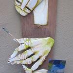 ARTISTA IN PAUSA bassorilievo - 2014 - legno di recupero - 120x60x15