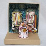 presePOP3 (scultura da viaggio) - 2012 - imballaggi di recupero - 16x16x8