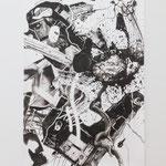 Peter Hock · Zabriskie Point 3, Reißkohle auf Papier, 2017