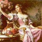 Dama w liliowej sukni z kwiatami (Dla niego)-Czachórski, Wladyslaw  1850-1911