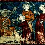 """IMÁGEN DE LOS MANUSCRITOS DE """"LE JEU DE ROBIN ET MARION"""" (PRIMER MITAD DEL SIGLO XIV). ADAM DE LA HALLE 1237?-1288?"""
