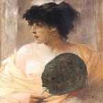 Portret kobiety z wachlarzem-Zmurko, Franciszek  1858-1910