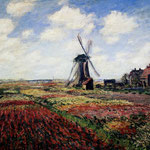 Tulip Fields With The Rijnsburg Windmill.