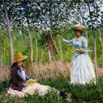 In The Woods At Giverny Blanche Hoschede Monet At Her Easel With Suzzanne Hoschede Reading.