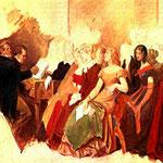 FRANZ PETER SCHUBERT 1797-1828 - Schubert, al piano, acompaña al cantante Michael Vogl en una velada en casa de amigos —Oleo inacabado de Moritz von Schwind, 1868—.